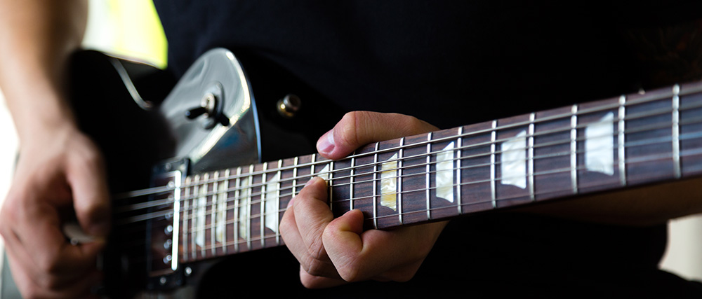Rock guitarist close up